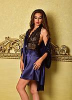 Домашняя одежда комплект халат с пеньюаром синий Шанталь