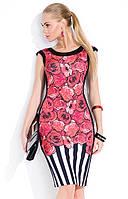 Летнее платье из вискозы с принтом розы. Модель Kayla Zaps