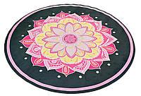 Коврик для йоги круглый 1мм(замша)с сумкой 6218-1 черно-розовый