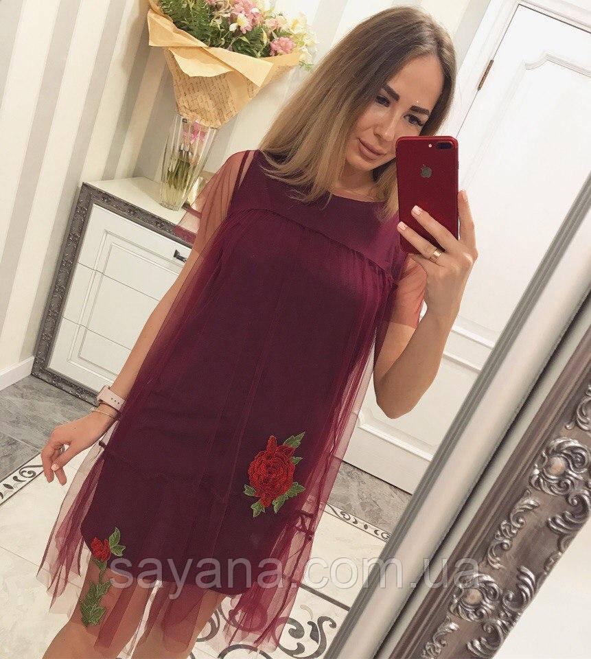 ad9789348f5 Женское платье с фатином и вышивкой в расцветках. В-1-0717 - Оптово