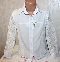 Блузка школьная Турция с гипюром 7-8,8-9,9-10,10-11 лет