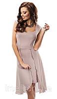 Летнее трикотажное платье с шифоном с подолом разной длины. Модель 17008 Enny