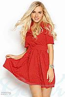 Платье мелкий горошек. Цвет красно-белый.