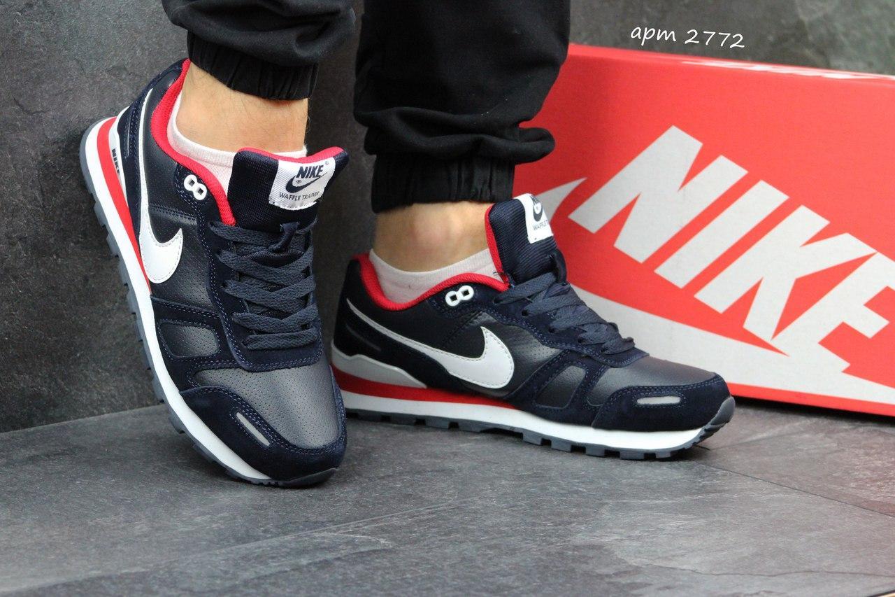 Nike Waffle Trainer мужские темно синие кроссовки (Реплика ААА+) - bonny -style fb11b51cabf83