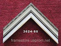 Багет пластиковый, бежевого цвета, классической формы с узкой лепниной. Оформление, вышивок, икон