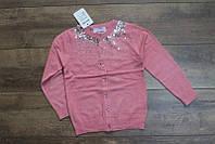 Вязанный кардиган для девочек 4 ,6,8 лет Цвет розовый