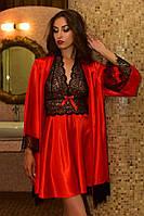 Легкий домашний халат и пеньюар атласный с нежным кружевом красный Шанталь