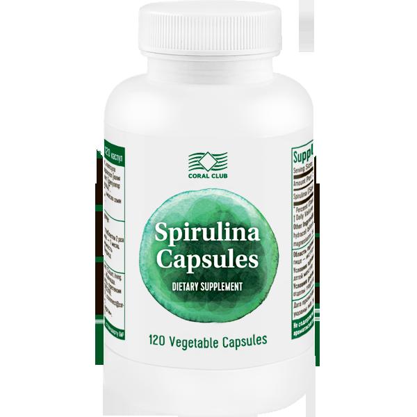 Спирулина КоралКлаб в капсулах улучшает обмен веществ, 120 капс.
