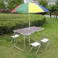Стол раскладной туристический в комплекте с 4 стульями и отверстием под зонтик