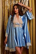 Нежный атласный комплект халат и пеньюар с кружевом голубой Шанталь