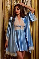 Нежный атласный комплект халат и пеньюар с кружевом голубой Шанталь, фото 1