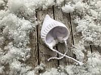 Зимняя вязанная шапочка (подклад махра) 0-3 мес, 3-6 мес (белая)
