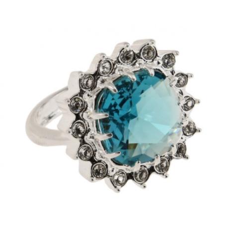 """Кольцо """"Беннет"""" с кристаллами Swarovski, покрытое родием (j011f043)"""