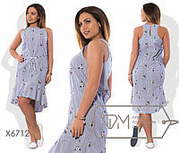Асимметричное платье с вышивкой в расцветках БАТ 485 (6713)