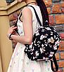 Рюкзак женский кожзам Цветочный принт Черный, фото 2