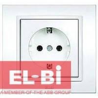 Розетка с заземлением белая El-Bi Zena 500-010200-217