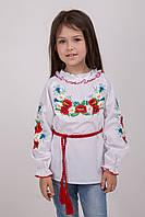 Вышитая блуза для девочки с васильками, маками и ромашками от 7 до 11 лет