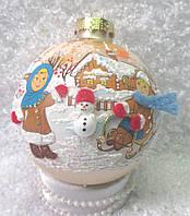 """Стеклянный шар 85 мм """"Зимняя забава"""", фото 1"""