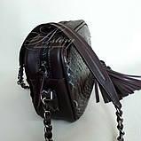 Жіноча сумочка STELLA з пітона кольору марсала на ланцюжку, фото 2
