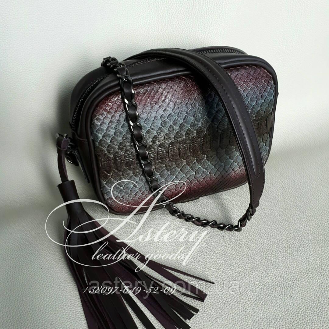 Жіноча сумочка STELLA з пітона кольору марсала на ланцюжку