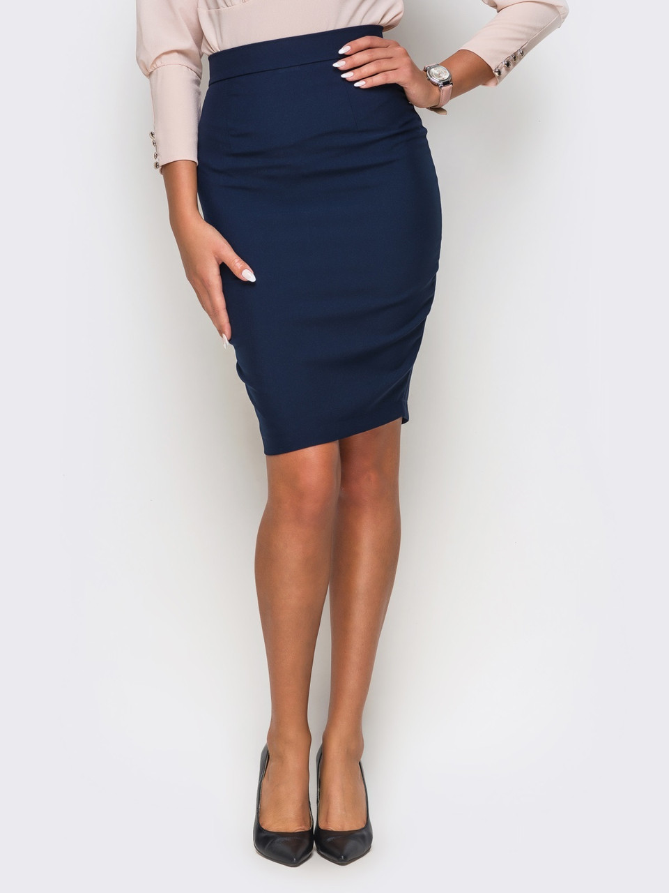 1bcc49c9074 Женская офисная деловая темно-синяя юбка р.42 - Интернет - магазин