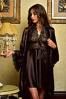 Роскошный комплект атласный пеньюар и халат с кружевом коричневый Шанталь