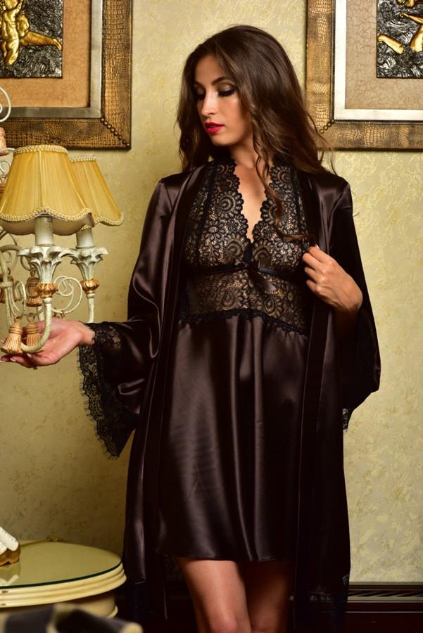 Роскошный комплект атласный пеньюар и халат с кружевом коричневый Шанталь 7a4763b53cc74