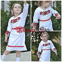 Детское белое платье с вышитыми цветами