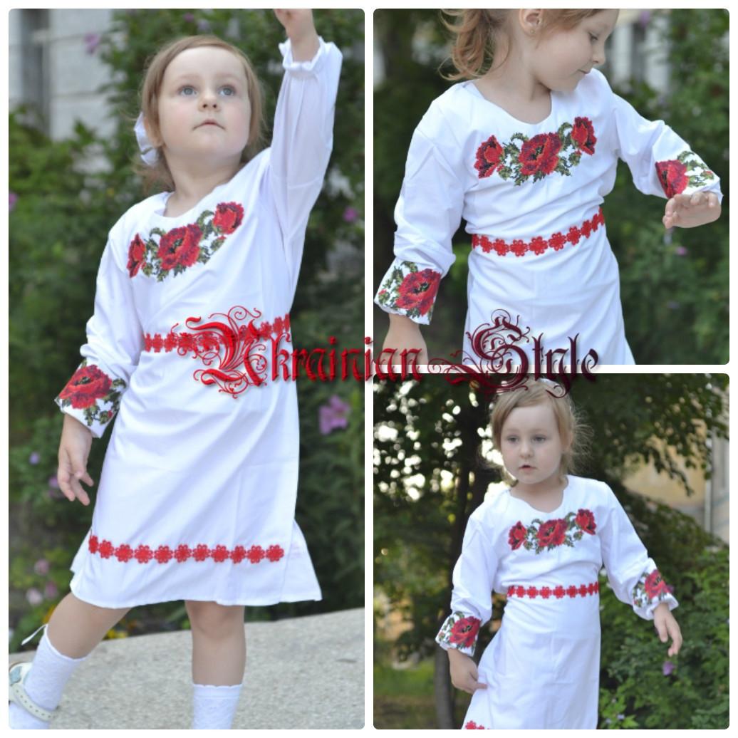 6b26a8fdeb2 Детское белое платье с вышитыми цветами