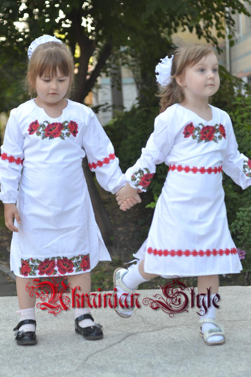 bd5c65f5bee Детское белое платье с вышитыми цветами. - Интернет-магазин