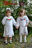 Нежное детское белое платье-вышиванка в украинском стиле.