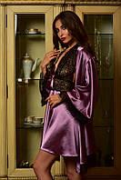 Женский атласный комплект пеньюар и халат с кружевом фрез Шанталь