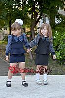 Красивое детское платье для школы с баской