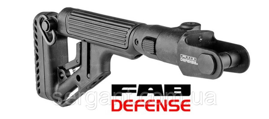 Складной приклад Fab Defense UAS-AKMS с регулируемым подщёчником для АКС-47 и АКМС с складным вниз прикладом