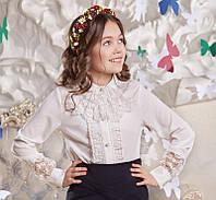 Блуза школьная кружевная с жабо на девочку Синди Suzie Размеры 146- 158