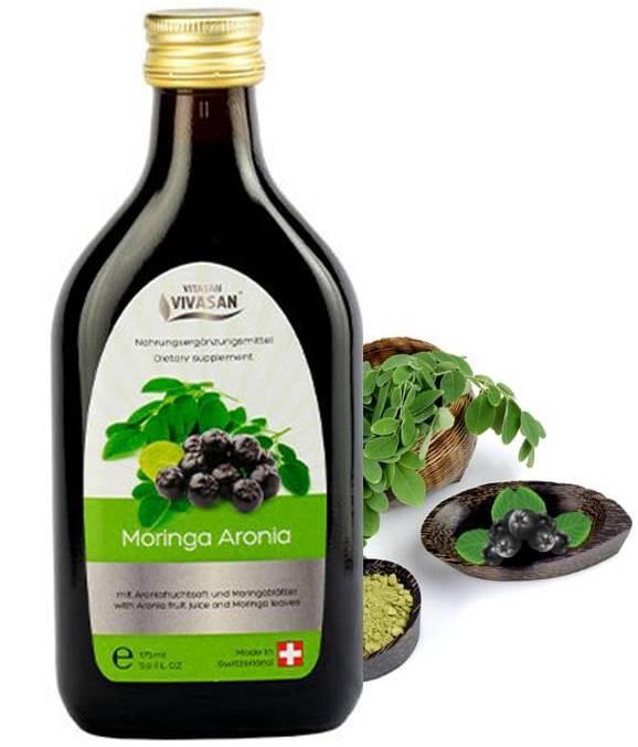 Мультивитаминный напиток Моринга - Арония, Вивасан,Швейцария, антиоксидант, иммуномодулятор,175 мл