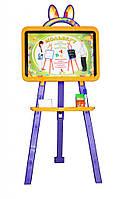 Дошка для малювання 0137774 жовто - фіолетовий  крейда, маркер, мочалка