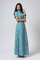 Женское платье в пол бирюзового цвета с принтом квадрат