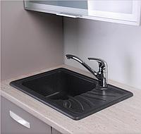 Гранитная мойка для кухни Fancy Marble Filadelfia 650x440x195 (Черный), фото 1