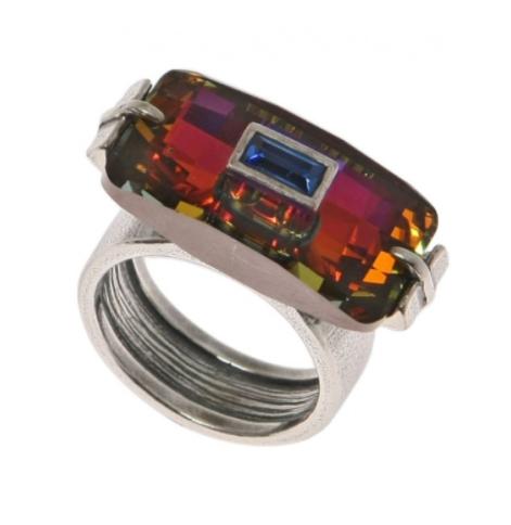 "Кольцо ""Денебола"" с кристаллами Swarovski, покрытое серебром (h5573070)"