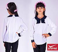 Детская блузка Синий воротник бант с длинными рукавами
