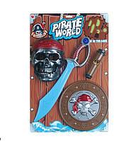 Пиратский набор B6698-3 48шт2 сабля, маска, щит, подз.труба, свет,звук, на планшетке 55375,5см