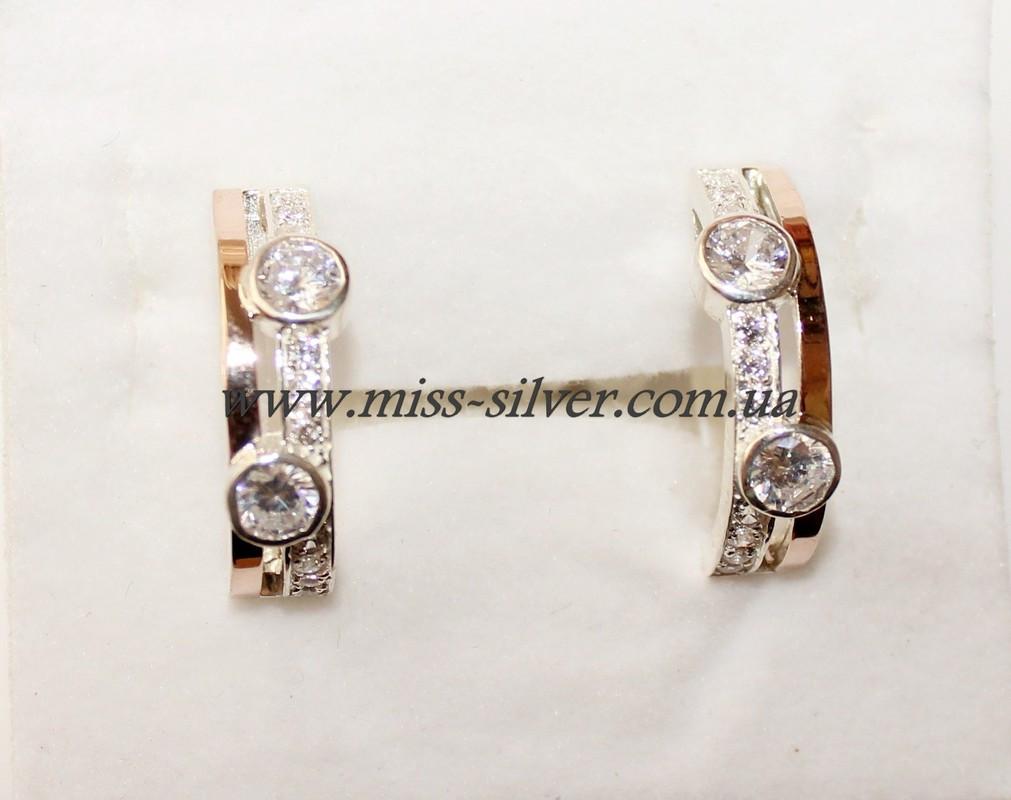 Сережки из серебра с золотом Эйфория