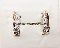 Серебряные серьги с напайками золота Эйфория, фото 1