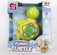 Игрушка для детей музыкальная развивающая Черепаха Lindo А 652  цвет - желтый
