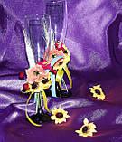 Украшение для свадебных бокалов Подсолнухи, фото 3