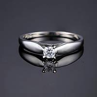 Серебряное кольцо солитер с цирконом