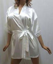 Нежный женский атласный халат с кружевом,короткий, от 44 до 54 р-ра, Харьков, фото 2