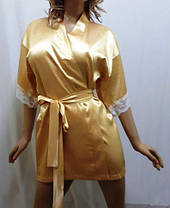 Нежный женский атласный халат с кружевом,короткий, от 44 до 54 р-ра, Харьков, фото 3