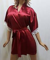 Нежный женский атласный халат с кружевом,короткий бордовый